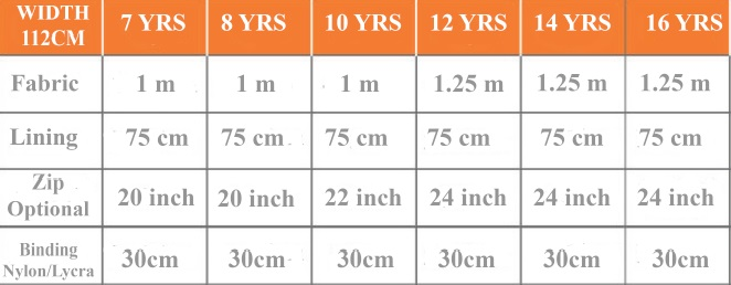 Gilet size chart