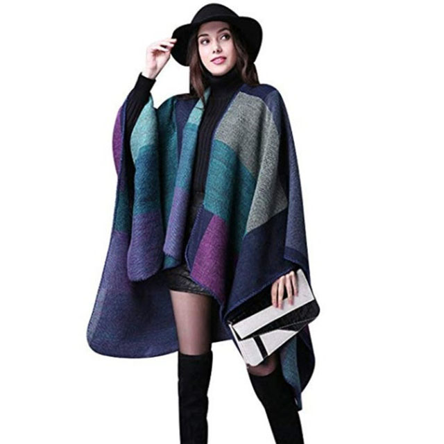 Women'S-Winter-Reversible-Oversized-Blanket-Poncho-Cape-Shawl-Cardigans